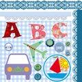 Alphabet on checkered background Royalty Free Stock Photo