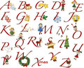 Alphabet christmas with fun illustration Royalty Free Stock Images