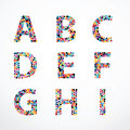 Alphabet Circle color point style vector set. Royalty Free Stock Photo