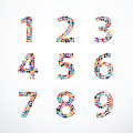Alphabet Circle color point style vector set Royalty Free Stock Photo