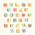 Alphabet. Colorful toy blocks, font for children education Royalty Free Stock Photo
