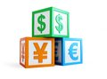 Alphabet cube finance sign Royalty Free Stock Photography