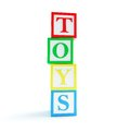 Alphabet cube toys on a white background d illustrations Stock Image