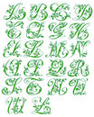 Alphabet cursive floral Stock Photography
