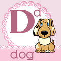 Alphabet d the letter the dog on a pink napkin Royalty Free Stock Images