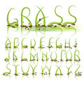 Alphabet de vecteur d'herbe verte Images stock