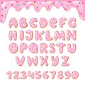 Alphabet donut vector kids alphabetical doughnuts font ABC with pink letters and glazed numbers with icing or sweet Royalty Free Stock Photo