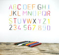 The alphabet drawn by a crayon Royalty Free Stock Photos