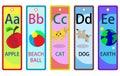 Alphabet Educational Bookmarks A-E for Kids