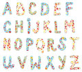 Alphabet floral set cute design Royalty Free Stock Photos