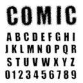 Alphabet font comic halftone design