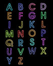 Alphabet fonts laser light  a-z Royalty Free Stock Photo