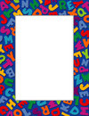 Alphabet Frame, Blue Background Stock Photo