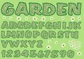 Alphabet in green garden design capital letters and numbers decorated with floral pattern bold font vector eps Royalty Free Stock Photo