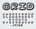 Alphabet grid design. Typeface clip art. Uppercase letters, numbers and punctuation marks. Font vector typography 3D effect. Hand
