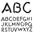 Alphabet hand drawing illustration set in black ink Stock Images