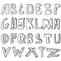 Alphabet hand drawing vector illustration set in black ink Royalty Free Stock Photos