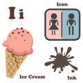 Alphabet I letter.Ice Cream,Icon,Ink Royalty Free Stock Photo