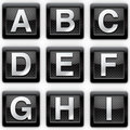 Alphabet A-I metal icons Stock Photography