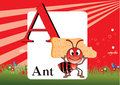 Alphabet a illustration of with ant Royalty Free Stock Photos