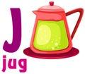 Alphabet J with jug Royalty Free Stock Image