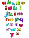 Alphabet for kids funny letters with eyes children learning their first letters poster the school Stock Photo