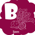 Alphabet for kids with vegetables. Healthy letter abc B-beet.