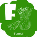 Alphabet for kids with vegetables. Healthy letter abc F-Fennel