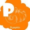 Alphabet for kids with vegetables. Healthy letter abc P-Pumpkin