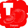 Alphabet for kids with vegetables. Healthy letter abc T-tomato