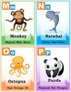 Alphabet learning book page animal with cute animals and capital and simple letters m n o p illustration specially for preschool Stock Image