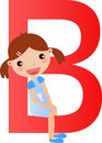 Alphabet letter B(girl) Stock Photos