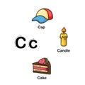 Alphabet Letter C-cap,candle,cake  illustration Royalty Free Stock Photo
