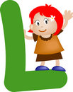 Alphabet letter L (girl) Stock Images