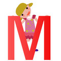 Alphabet letter M(girl) Royalty Free Stock Images