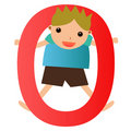 Alphabet letter O(boy) Stock Photography