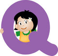 Alphabet letter Q (girl) Royalty Free Stock Photography