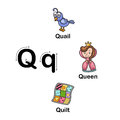 Alphabet Letter Q-quail,queen,quilt  illustration Royalty Free Stock Photo