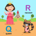Alphabet Letter Q-queen,R-raccoon Royalty Free Stock Photo