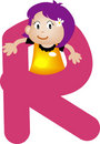 Alphabet letter R (girl) Stock Photos