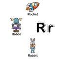Alphabet Letter R-rocket,robot,rabbit illustration Royalty Free Stock Photo