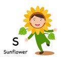 Alphabet Letter S-sunflower,vector