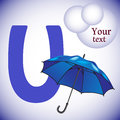 Alphabet. Letter U. Umbrella Royalty Free Stock Photo