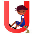 Alphabet letter Ugirl) Royalty Free Stock Photos