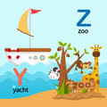 Alphabet Letter Y-yacht,Z-zoo Royalty Free Stock Photo