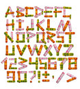 Alphabet - letters from a bright fabric Stock Photo