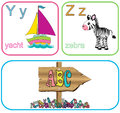 Alphabet letters for kids with cute drawings Royalty Free Stock Photos