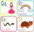 Alphabet letters for kids withe cute cartoon Royalty Free Stock Photos