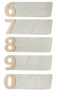 Alphabet letters number recycled paper Stock Photo