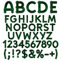 Alphabet, letters, numbers and signs from green cloth tartan. Isolated vector objects. Royalty Free Stock Photo